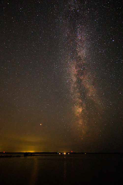 Photo of the Milky Way above a lake in Michigan